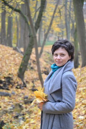 age 35 40 years: Portrait of the woman of average years with yellow maple leaves in hands. Autumn wood