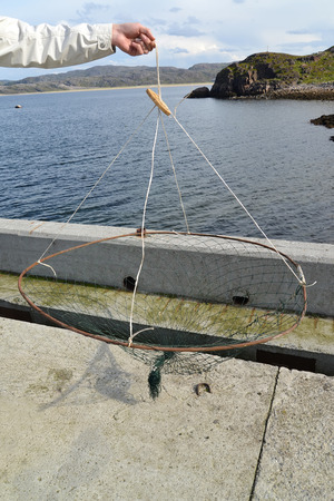 selfmade: The male hand holds a self-made trap for crabs against the Barents Sea. Murmansk region