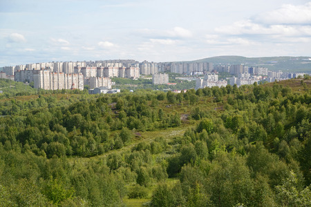 inhabited: Panorama of the inhabited residential district of the city of Murmansk