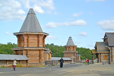 poorly: MURMANSK REGION, RUSSIA - JULY 18, 2015: Territory of the Sacred and Troitsk Trifonov-Pechengsky mans monastery