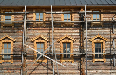 without window: The construction woods on a wall of the wooden building. Sacred and Troitsk Trifonov-Pechengsky mans monastery, Murmansk region