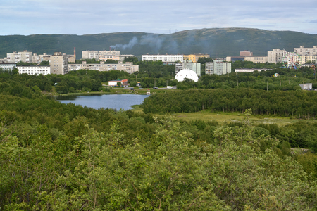inhabited: View of the Semenovsky lake and inhabited residential district of the city of Murmansk