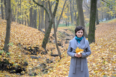 age 35 40 years: The woman of average years costs in the autumn wood among yellow leaves Stock Photo