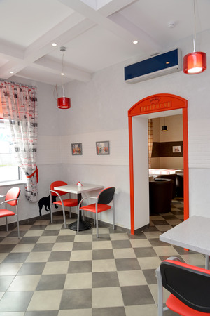 stylization: Fragment of an interior of modern cafe. Stylization under London