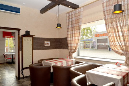 plafond: Interior of modern cafe in brown tones