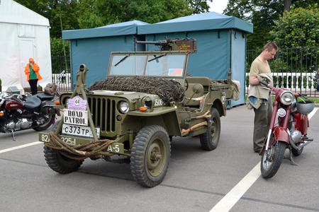 willis: PETERHOF, RUSSIA - JULY 26, 2015: The Willys MB car (Willis) costs at a street exhibition Editorial