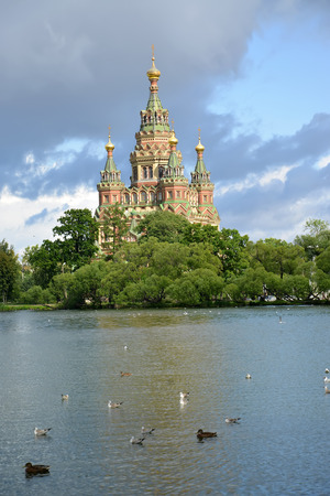 holguin: Saint Pyotr and Pavels cathedral on the bank of Holguin of a pond in Peterhof