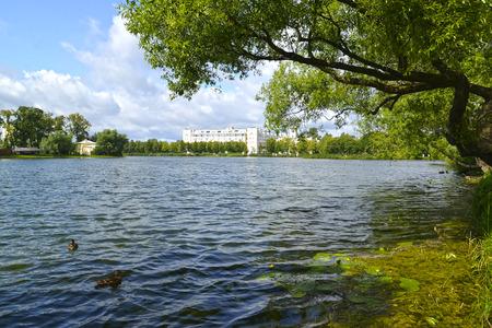 holguin: View of Holguin a pond in Kolonistsky park. Peterhof