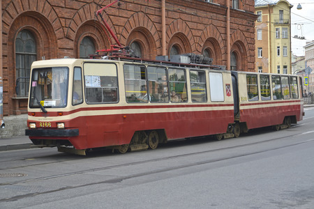 moves: ST. PETERSBURG - JULY 23, 2015: The tram moves on Fontanka River Embankment