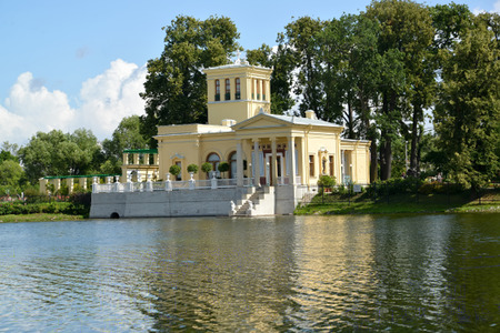 holguin: PETERHOF, RUSSIA - JULY 24,2015: The queens pavilion on the bank of Holguin of a pond, Kolonistsky park Editorial