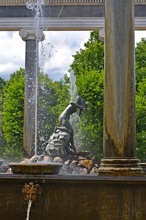 nympha: PETERHOF, RUSSIA - JULY 24, 2015: A statue Nympha Aganipa in the Lions cascade Editorial