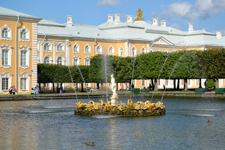 peterhof: PETERHOF, RUSSIA - JULY 24, 2015: A view of fountains of Square ponds against the Grand Peterhof Palace. Top garden