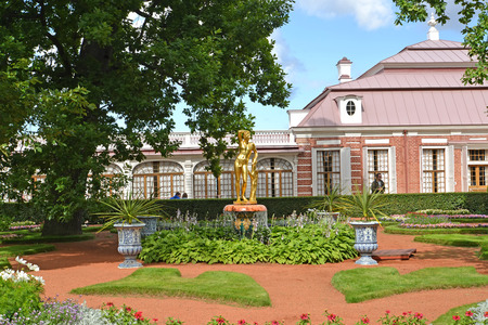 bacchus: PETERHOF, RUSSIA - JULY 24, 2015: View of the Monplezirsky garden and palace Monplezir. Lower park