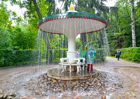 poorly: PETERHOF, RUSSIA - JULY 24, 2015: The Umbrella fountain cracker in Nizhny park