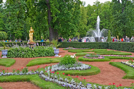 sheaf: PETERHOF, RUSSIA - JULY 24, 2015: A corner of the Monplezirsky garden with Bell and Sheaf fountains Editorial