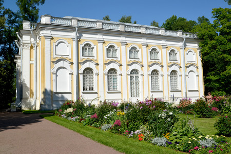 poorly: ORANIENBAUM, RUSSIA - JULY 25, 2015: The Stone Hall pavilion in summer day