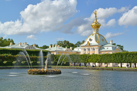 storeroom: PETERHOF, RUSSIA - JULY 24, 2015: A view of fountains of Square ponds against the Special storeroom Editorial