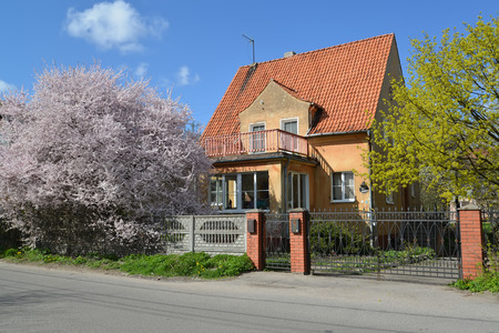 country house style: Old house of the German construction in Kaliningrad. Spring