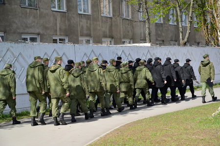 conscription: KALININGRAD, RUSSIA - APRIL 20, 2016: The military personnel of conscription service by a system goes to barracks