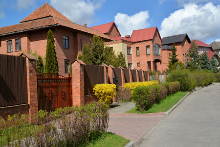 private parts: Mansions from a red brick in the cottage settlement. Kaliningrad