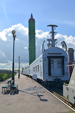 intercontinental: ST. PETERSBURG, RUSSIA - JULY 23, 2015: A view of the car unit of providing and the intercontinental ballistic missile 15?61(??-23????) at the platform