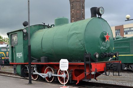 st german: ST. PETERSBURG, RUSSIA - JULY 23, 2015: The German industrial bestopochny engine No. 9305 costs at the platform