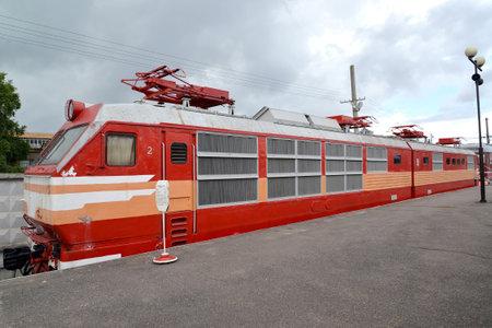czechoslovak: ST. PETERSBURG, RUSSIA - JULY 23, 2015: The Czechoslovak passenger electric locomotive of ChS200-002 costs at the platform