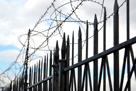 fencing wire: The barbed wire is tense over a metal fencing