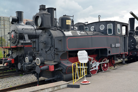 exposition: ST. PETERSBURG, RUSSIA - JULY 23, 2015: The 2023 tank engine costs at the platform