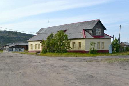repaired: The repaired wooden building in the settlement of Teriberka. Murmansk region