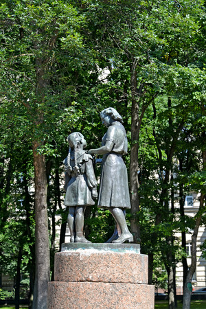 pioneers: ST. PETERSBURG, RUSSIA - JULY 13, 2016: A monument Reception in pioneers in the Moscow Victory park Editorial