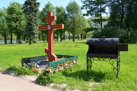 crematorium: Orthodox funeral cross and the furnace on the place of brick plant crematorium. Moscow Victory park, St. Petersburg