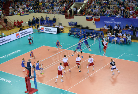 commands: KALININGRAD, RUSSIA - JUNE 18, 2016: The game moment between the mens national teams teams of Poland and Russia on volleyball. The XXVII tournament of World league on volleyball of 2016 among mens teams