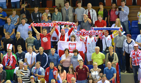 tribune: KALININGRAD, RUSSIA - JUNE 18, 2016: Fans from Poland on a tribune of Sports palace Editorial