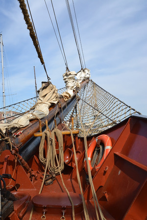 Bowsprit on a nose of the sailing vessel Stock Photo