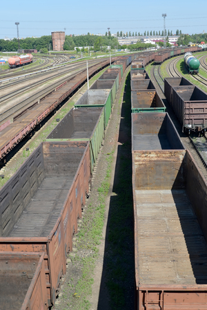 empties: Empty freight trains stand Kaliningrad-sorting on the ways of railway station Stock Photo