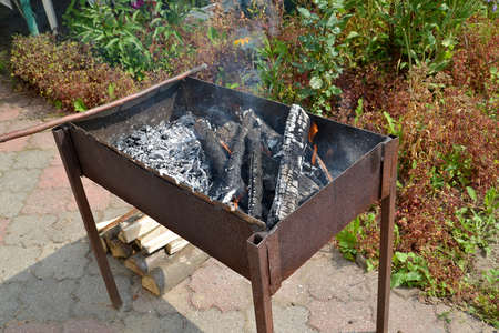 brazier: Brazier with the burning firewood