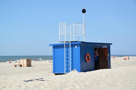 inhibitory: AMBER, RUSSIA - JUNE 27, 2016: Life-saving station on the city beach