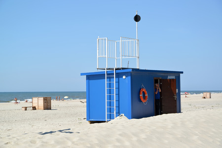 AMBER, RUSSIA - JUNE 27, 2016: Life-saving station on the city beach