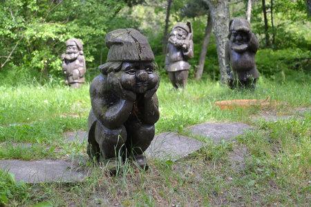 """gnomos: Región de Kaliningrado, Rusia - 13 de junio, 2016: esculturas de madera """"Gnomos"""" en el parque"""