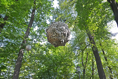 PETERSBURG, RUSSIA   JULY 16, 2014: Decorative Spheres With Hang Among
