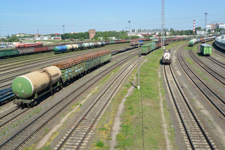 KALININGRAD, RUSSIA - JUNE 23, 2016: A panorama of a railway station Kaliningrad-sorting in a summer sunny day