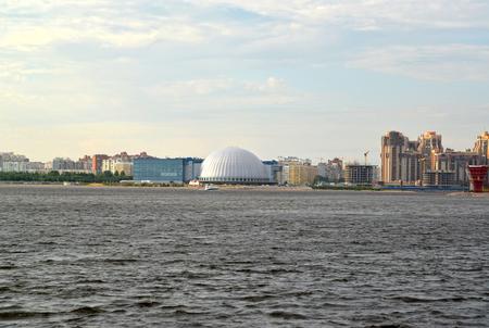 dome type: Type on Primorsky Avenue from Srednyaya Nevka. St. Petersburg Stock Photo