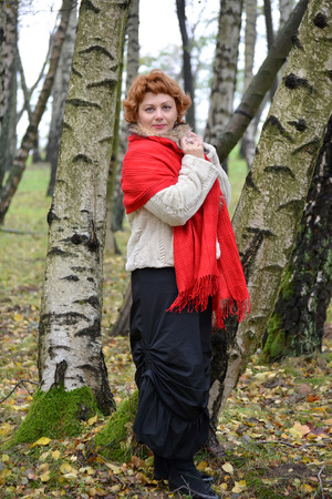 robo: La mujer de los años medios tranquila en una estola roja costes entre abedules en el bosque Foto de archivo