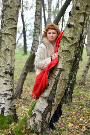 leaned: The serious woman with a red scarf costs having leaned against a birch in the wood