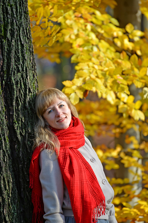 Portrait of the young woman with a red scarf against the background of an autumn tree Stock Photo