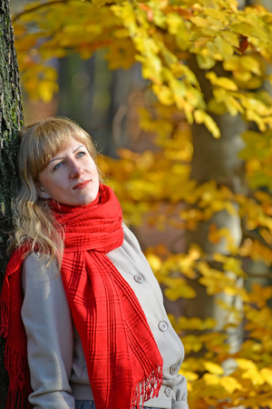 Portrait of the pensive young woman with a red scarf against the background of an autumn tree