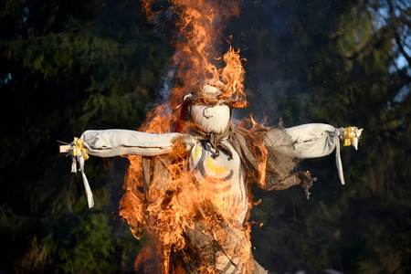 effigy: Burning of an effigy at the celebration of Maslenitsa in Russia