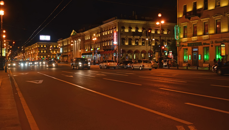 ST. PETERSBURG, RUSSIA - JULY 14, 2014: Night view of Nevsky Avenue Stock Photo