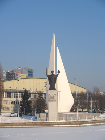 nikolay: KALININGRAD, RUSSIA - FEBRUARY 16, 2012: Monuments to Nicholas The Wonderworker and the died fishermen. Russian text Nicholas The Wonderworker Editorial